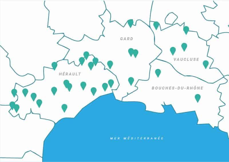 Cérès Flore, carte des sites de prélèvements de végétaux